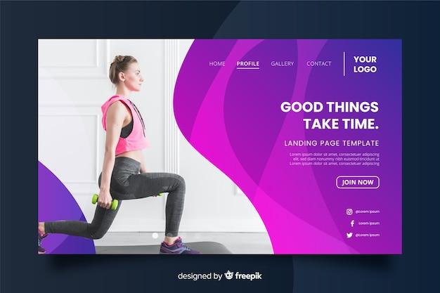 Good things take time gym promotion landing page