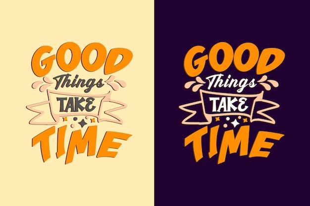 良いことは時間がかかるタイポグラフィの引用デザイン