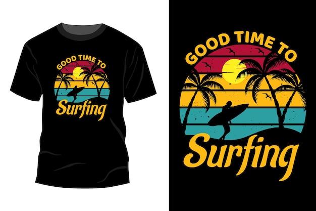 Tシャツのモックアップデザインのヴィンテージレトロをサーフィンするのに良い時期