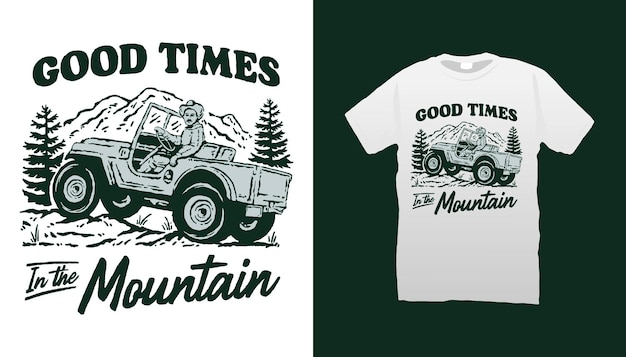 Good times in the mountain offroad car illustration