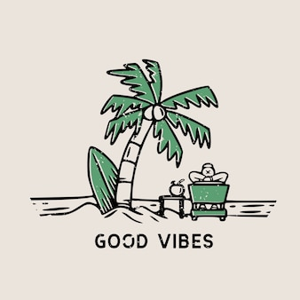 Good vibes beach scenery with surf board and palm trees hand drawn illustration