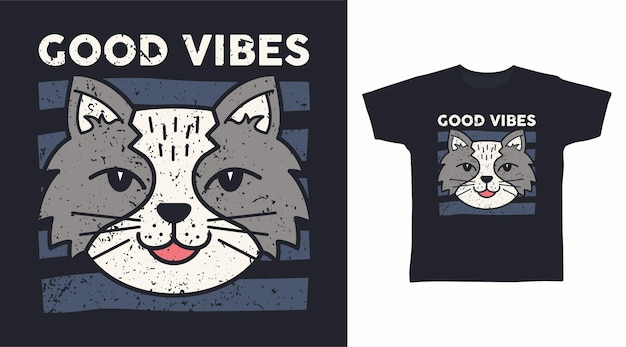 좋은 분위기의 회색 고양이 티셔츠 디자인