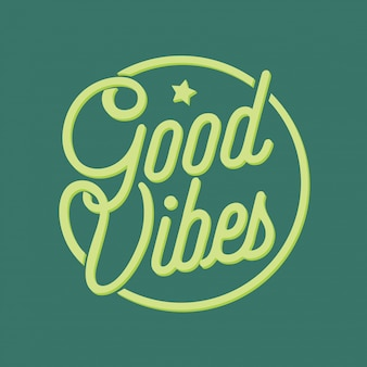 Good vibes lettering style vector