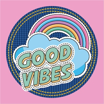 Good vibes words rainbow cloud fashion decoration patches