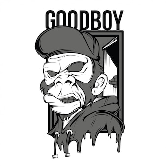 Goodboy black and white illustration