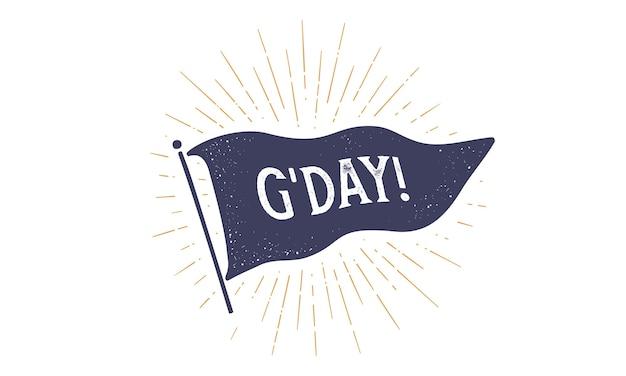 さようなら。 grahpicにフラグを立てます。テキストさようならと古いヴィンテージの流行の旗