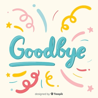 Goodbye spirals lettering background