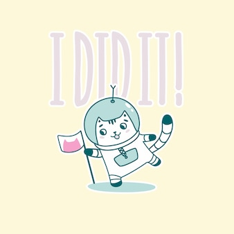 Goodnight lettering with funny astronaut cat