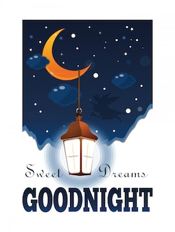 Goodnight poster. sweet dreams. moon and stars in the clouds. glowing lantern in the night sky. illustration