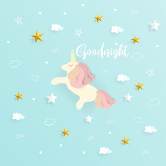 Goodnight with cute unicorn and cloud