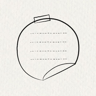 Goodnotes stickers vector circle note element in hand drawn style on paper texture