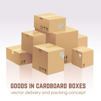 Goods in cardboard boxes