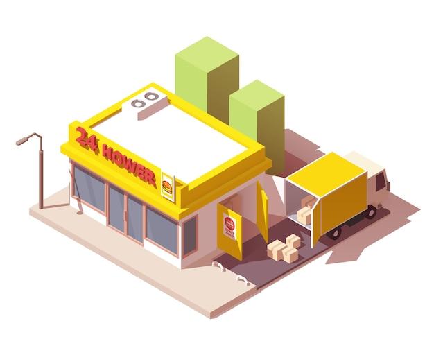 트럭으로 상점 또는 상점으로 상품 배송 프리미엄 벡터