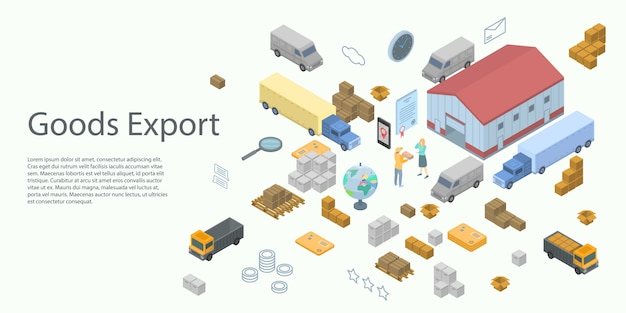 Goods export concept banner, isometric style