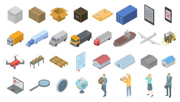 Goods export icons set, isometric style