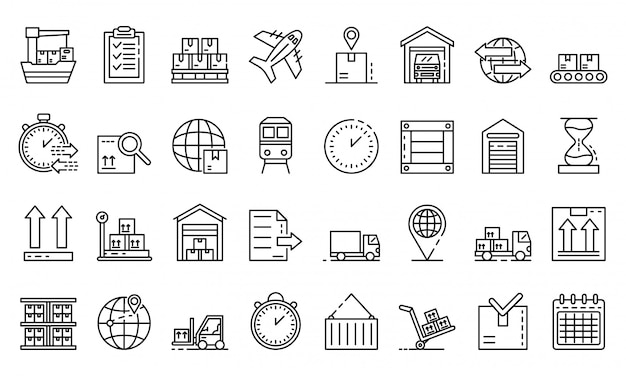 Goods export icons set, outline style