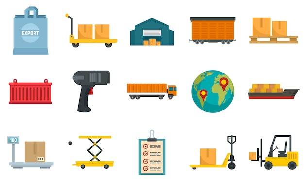 Goods export icons set