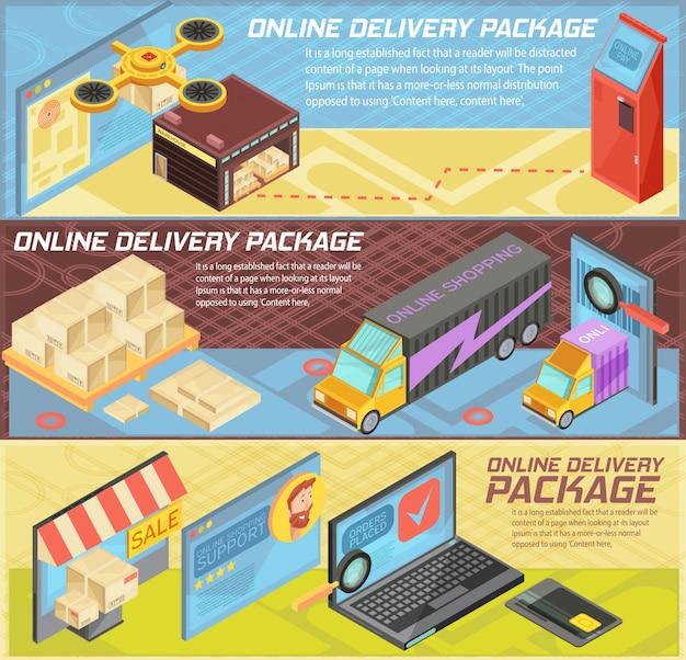 Le insegne isometriche orizzontali di consegna online delle merci con acquisto di internet, i pacchetti, il magazzino, il trasporto, dispositivi mobili hanno isolato l'illustrazione di vettore