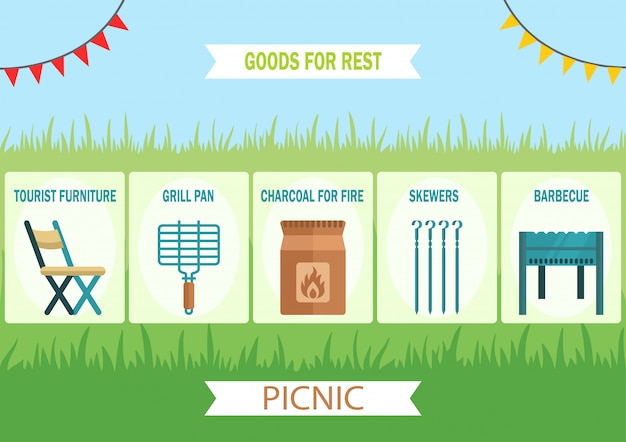 Goods for outdoor leisure flat vector web banner