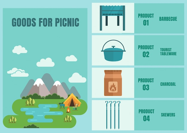 Goods for picnic outdoors advertising store