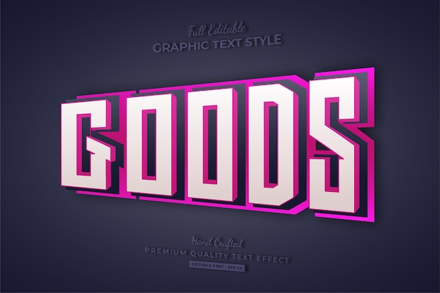 Goods pink 3d editable text effect font style
