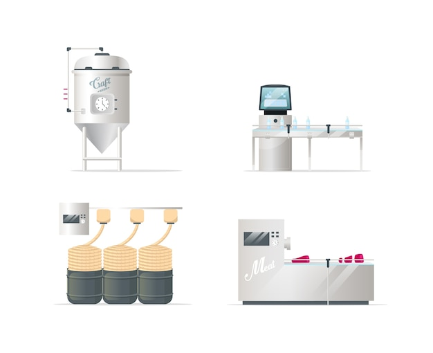 Goods processing technologies flat color objects set. craft beer brewing. soap and textile production. butchery. isolated cartoon