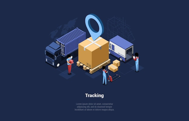 Goods tracking illustration, cartoon 3d style. isometric composition with tiny human characters in uniform working at warehouse