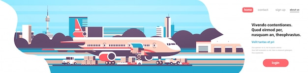 Goods transport landing page with airplane