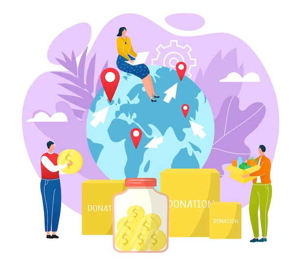 Goodwill concept, charity and donation  illustration. people carrying money, donation boxes filled with used goods, clothing and donated food. goodwill people volunteering, altruism in world.