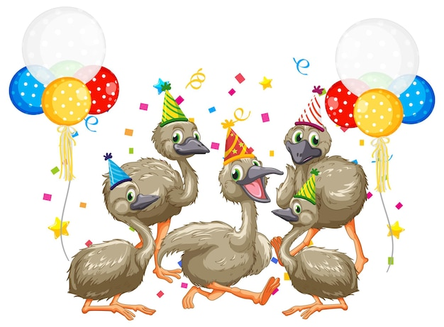 Goose group in party theme cartoon character on white background