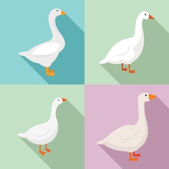 Goose icons set, flat style