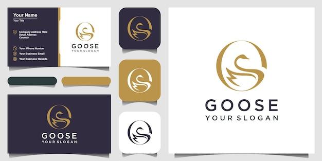 거위 로고 템플릿 그림 격리 된 기호입니다. 로고 디자인, 아이콘 및 명함