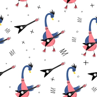Goose musician with electric guitar. vector seamless pattern in doodle style. rock and roll