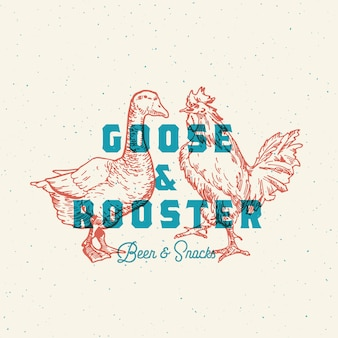 Goose and rooster beer and snack logo.
