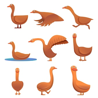 Goose set, cartoon style