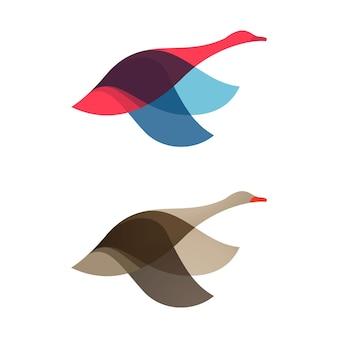 거위 백조 새 로고 벡터 문자 스포츠 팀 브랜딩을 위한 동물 디자인 요소