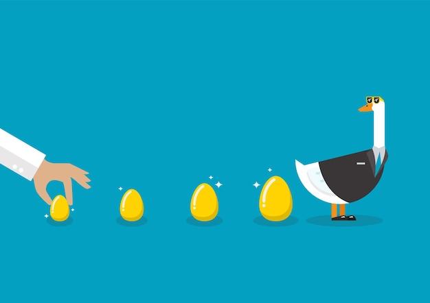 金の卵とビジネススーツを着てガチョウ