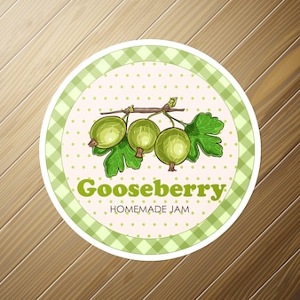 Gooseberry jam collection. paper label. design for package, wrapping paper textile or wallpaper.