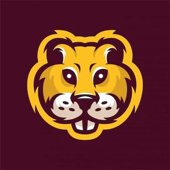 Gopher mascot head sportロゴ