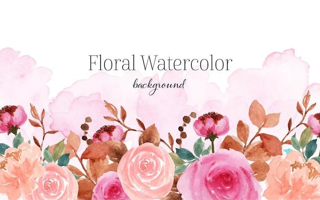 ゴージャスな抽象的なヴィンテージピンクブラウン花の水彩画の背景