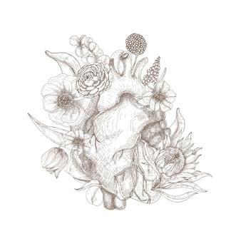 白い背景に手描きの美しい花が咲く花に囲まれたゴージャスな解剖学的な心。バレンタインデーのグリーティングカード、パーティの招待状の彫刻スタイルのロマンチックなイラスト。