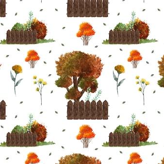 Великолепный осенний цветочный и дерево бесшовный фон