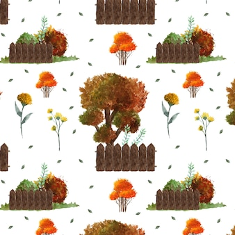 Gorgeous autumn floral and tree seamless background
