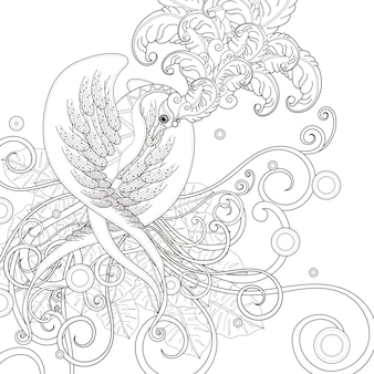 Gorgeous bird coloring page in exquisite style