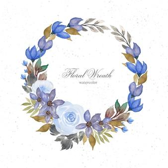 화려한 푸른 수채화 꽃 화환
