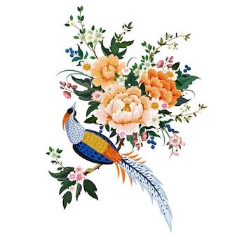 중국 스타일의 모란, 사쿠라, 만개한 펌, 다이아몬드 꿩이 있는 화려한 꽃다발