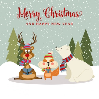 Gorgeous christmas card with reindeer