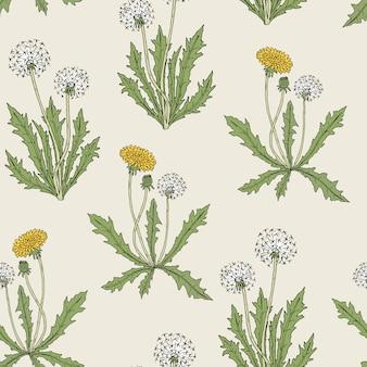 咲くタンポポの植物と豪華な色の植物のシームレスパターン