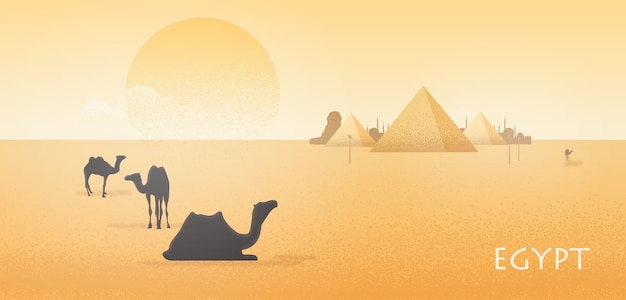 Gorgeous egypt desert landscape with silhouettes of camels standing and lying against giza pyramid
