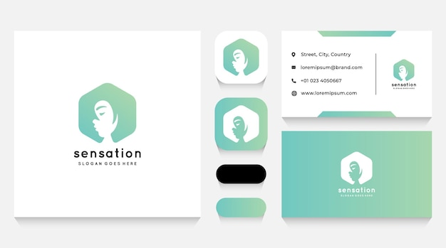 Gorgeous female logo template and business card